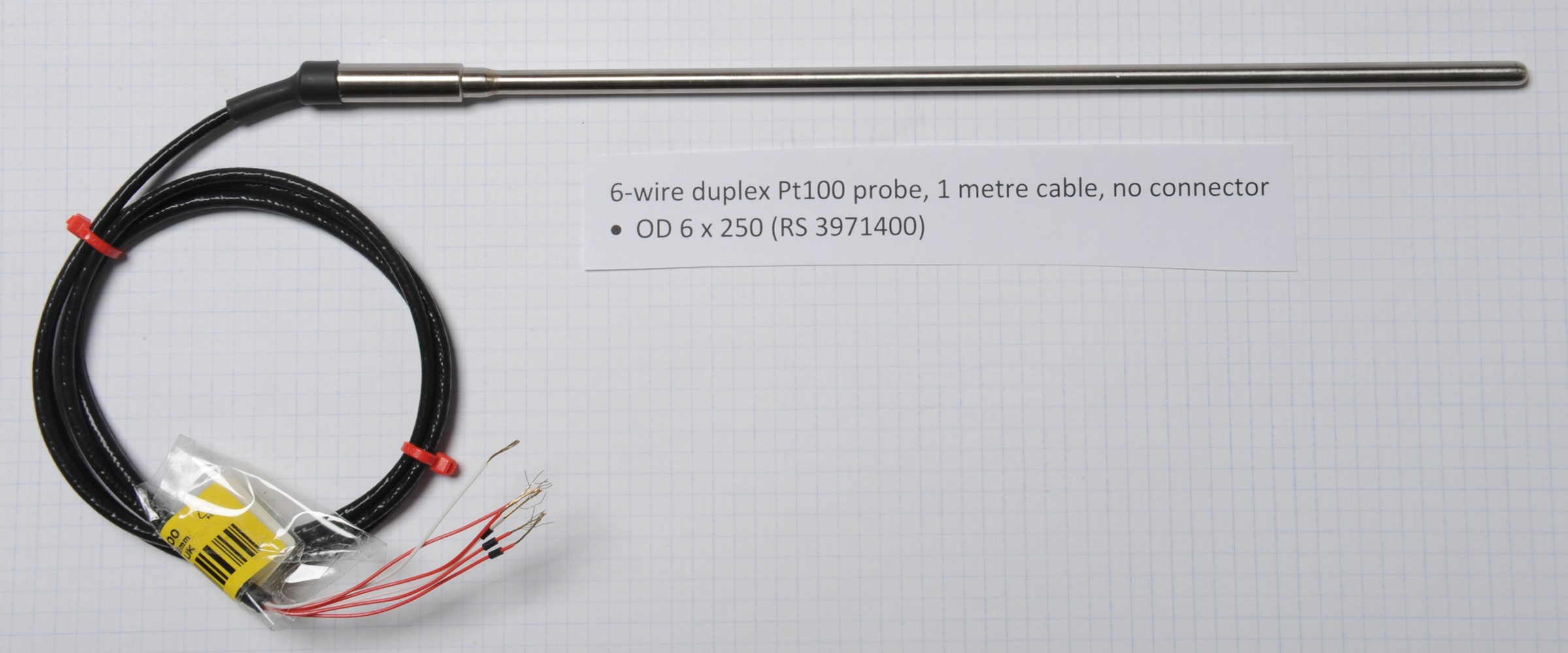 Thermocouples duplex pt100 6 wire probe with 1 metre cable and no connector publicscrutiny Images